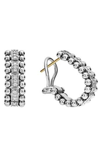 Women's Lagos Caviar Spark Diamond Oval Hoop Earrings