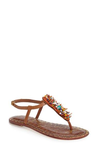 6d681921d21d Sam Edelman Gabrielle Beaded Thong Sandals In Orange Leather