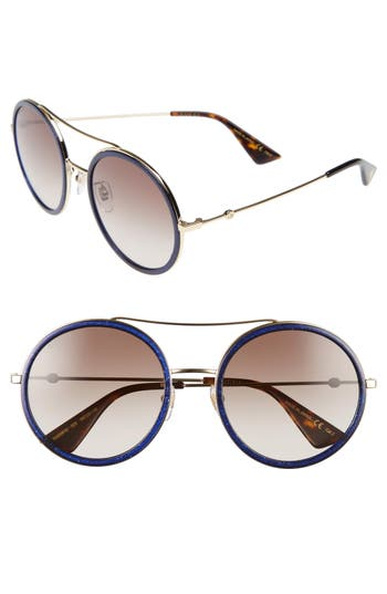 Gucci 5m Round Sunglasses - Glitter Blue/ Brown