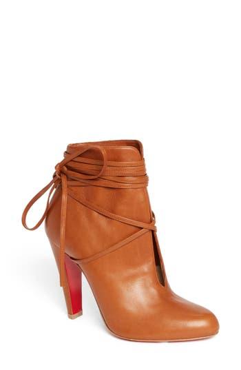 Women's Christian Louboutin Ankle Tie Bootie, Size 9.5US / 39.5EU - Metallic