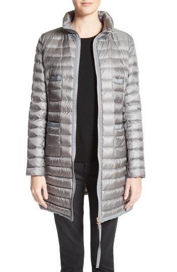Moncler Bogue Water Resistant Long Down Jacket, Grey