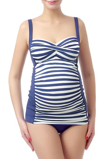 Vintage Style Maternity Clothes Womens Kimi And Kai Abby Maternity Two-Piece Tankini Swimsuit Size Large - Blue $68.00 AT vintagedancer.com