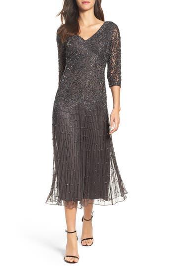 Pisarro Nights Beaded Mesh Dress, Grey