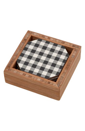 Deny Designs Gingham Set Of 4 Coasters, x4 - Blue