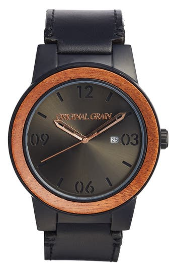 Original Grain The Barrel Leather Strap Watch, 47Mm