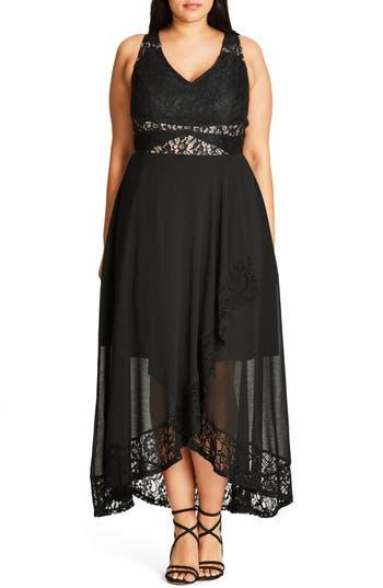 Plus Size Women's City Chic Seduction Lace & Chiffon Maxi Dress