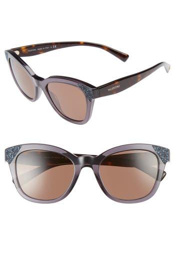 Women's Valentino 52Mm Cat Eye Sunglasses - Transparent Grey/ Blue Crystal