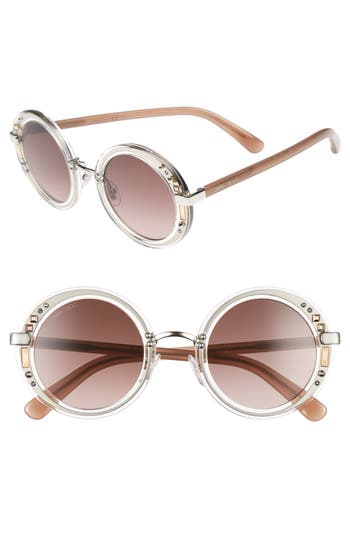 b950a42b98c Women s Jimmy Choo Gems 48Mm Round Sunglasses - Crystal  Palladium  Brown