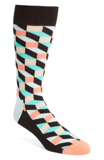 Men's Happy Socks Geometric Cotton Blend Socks, Size One Size - Black