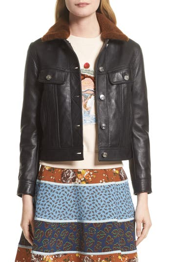 Women's Coach 1941 Leather Trucker Jacket With Removable Genuine Shearling Collar