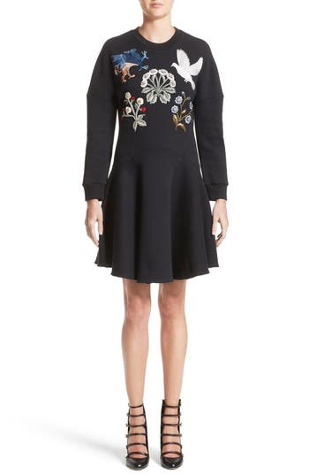 Women's Alexander Mcqueen Embroidered Sweatshirt Dress