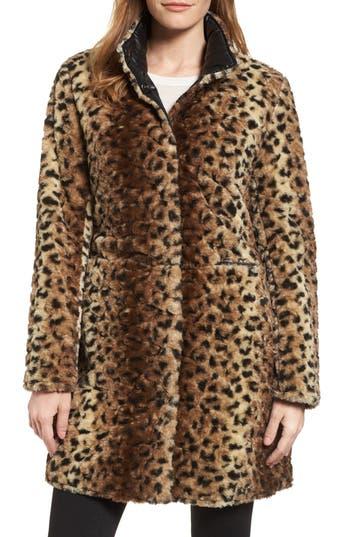Women's Via Spiga Reversible Faux Leopard Fur Coat, Size X-Small - Brown