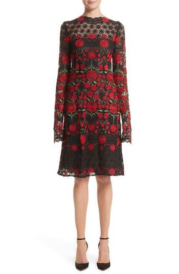Women's Naeem Khan Floral Embroidered Elongated Sleeve Dress