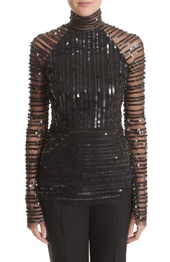 Women's Rachel Gilbert Tuulia Sequin Stripe Bell Sleeve Top, Size 12 - Black