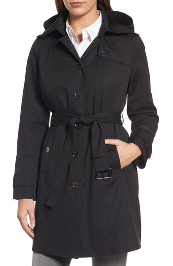 Petite Women's Michael Michael Kors Core Trench Coat With Removable Hood & Liner