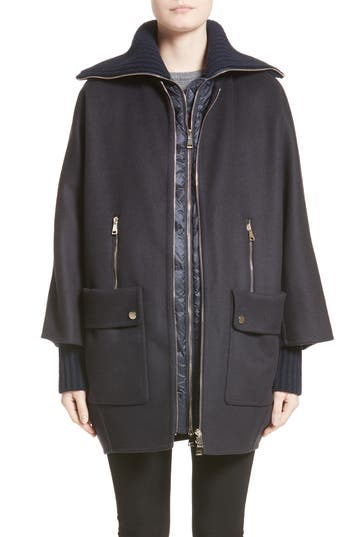 Moncler Acanthus Wool & Cashmere Coat With Removable Down Puffer Layer, Blue