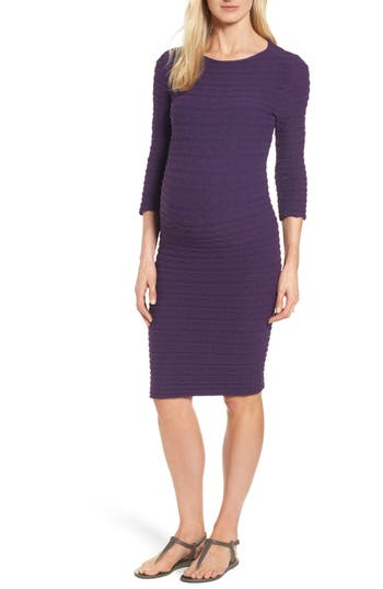 Women's Tees By Tina 'Crinkle' Maternity Midi Dress, Size One Size - Purple