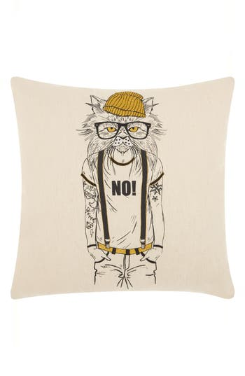 Mina Victory Tattooed Cat Accent Pillow, Size One Size - Beige