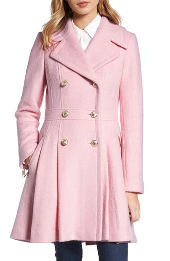 1950s Jackets and Coats | Swing, Pin Up, Rockabilly Petite Womens Guess Double Breasted Wool Blend Coat Size Large P - Pink $240.00 AT vintagedancer.com