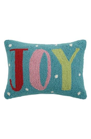 Peking Handicraft Joy Hooked Accent Pillow, Size One Size - Blue