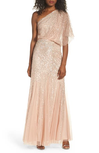 1930s Style Fashion Dresses Womens Adrianna Papell Sequin One-Shoulder Gown Size 4 - Pink $191.40 AT vintagedancer.com