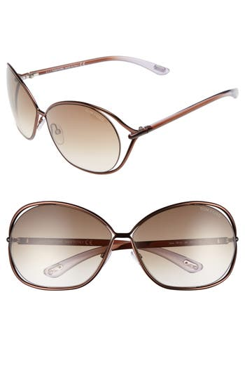 Tom Ford Carla 6m Oversized Round Metal Sunglasses -