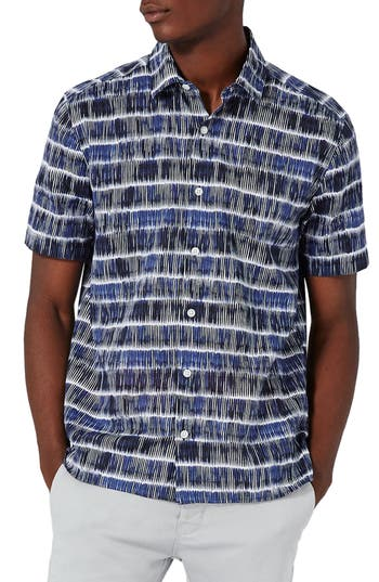 Men's Topman Batik Stripe Shirt, Size Large - Blue
