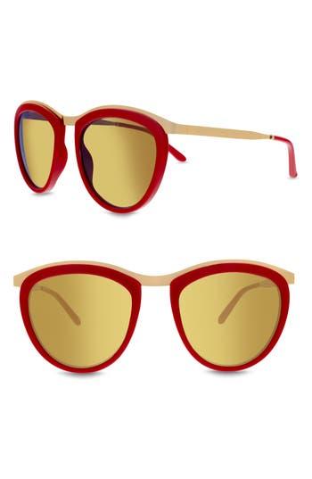 Women's Smoke X Mirrors Comic Strip 51Mm Round Sunglasses - Red/ Shiny Gold/ Gold Mirror