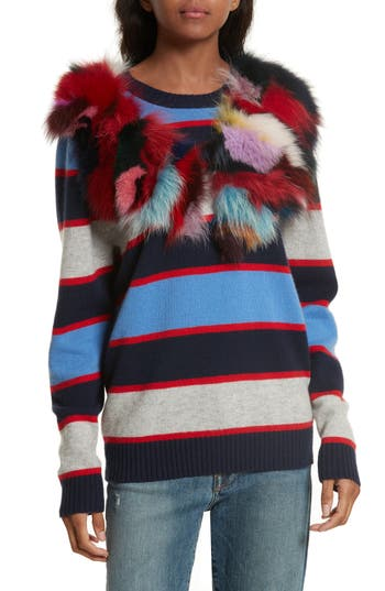 Women's Harvey Faircloth Stripe Cashmere Sweater With Genuine Fox Fur Trim, Size Small - Blue