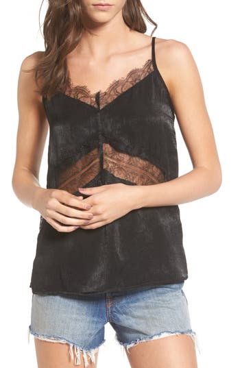 Women's Soprano Lace Trim Camisole, Size Large - Black