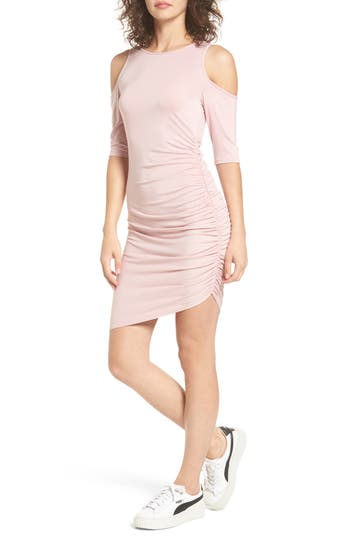 Women's Soprano Ruched Cold Shoulder Dress, Size X-Small - Pink