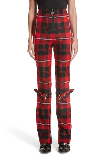 Women's Dilara Findikoglu Manson Tartan Plaid Wool Pants, Size Medium - Red