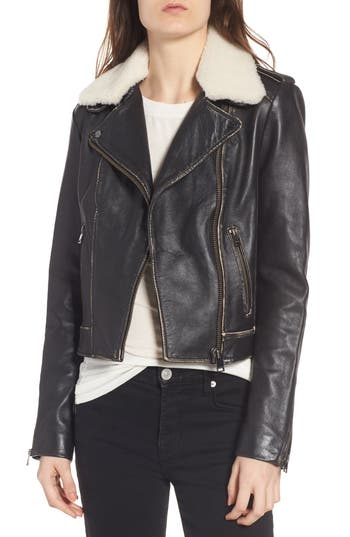 Lamarque Moto Jacket With Detachable Genuine Shearling, Black