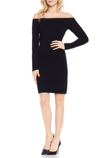 Vince Camuto Off The Shoulder Sweater Dress In Rich Black