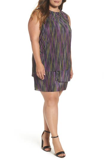 Plus Size Women's London Time Bodre Layered Dress