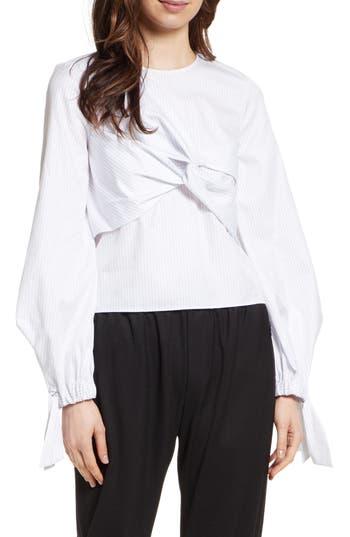 Women's Milly Lorna Shirting Stripe Top, Size 2 - Grey