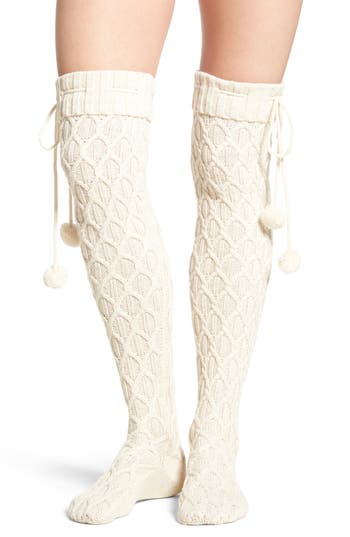 3675d0103 Ugg Sparkle Cable Knit Over The Knee Socks In Cream With Gold ...