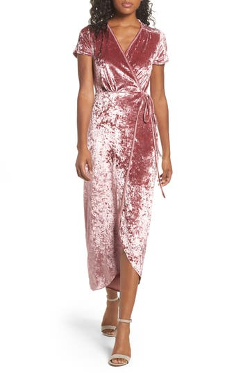 Women's Nsr Velvet Midi Wrap Dress, Size Small - Pink