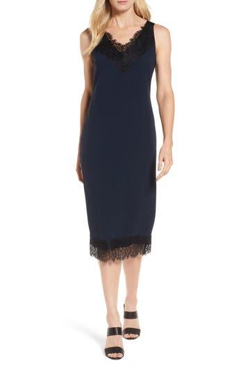 Women's Boss Haminka Lace Trim Shift Dress, Size 2R - Blue