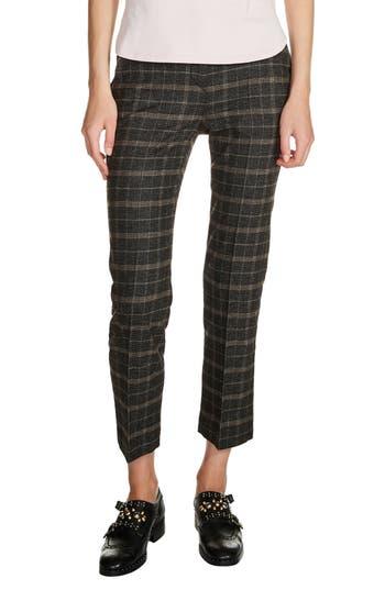 Women's Maje Plaid Ankle Pants, Size 40 - Grey