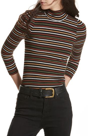 Women's Free People I'M Cute Stripe Turtleneck Sweater, Size Small - Black