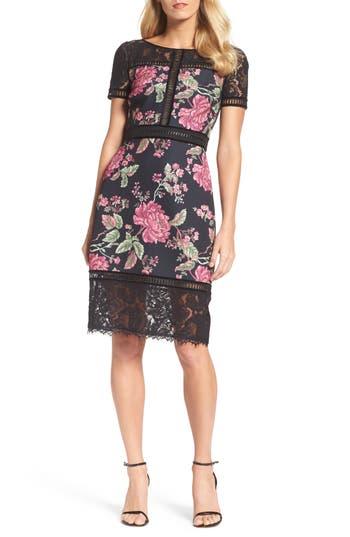 Women's Tadashi Shoji Floral Neoprene & Lace Sheath Dress