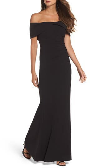 Eliza J Knot Front Off The Shoulder Gown