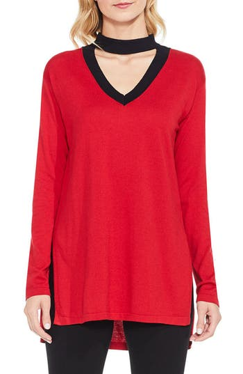 Women's Vince Camuto Choker V-Neck Sweater