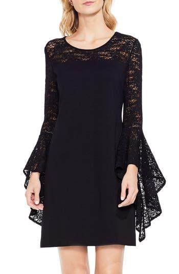 Vince Camuto Handkerchief Lace Ponte Dress, Black