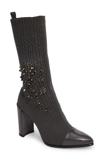 Stuart Weitzman Sockhop Embellished Boot- Grey