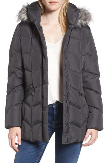 Larry Levine Quilted Coat With Faux Fur Trim, Grey