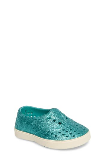 Infant Girl's Native Shoes Miller Sparkly Perforated Slip-On, Size 4 M - Blue/green