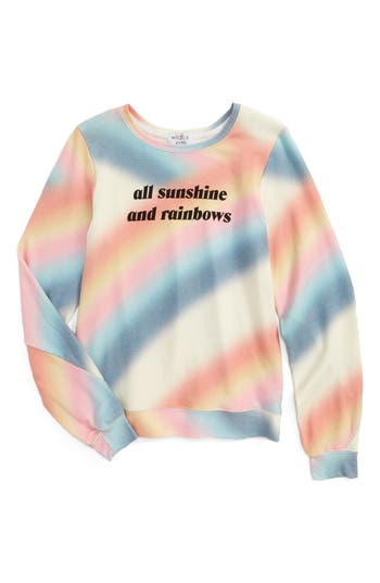 Girl's Wildfox Sunshine & Rainbows Pullover, Size 7-8 - Pink