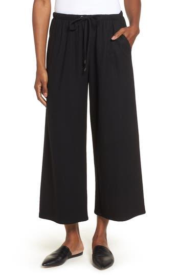 Petite Women's Eileen Fisher Wide Leg Crop Wool Pants